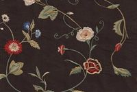5766149 MARIANNA / CHOCOLATE Floral Embroidered Silk Fabric