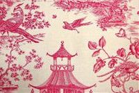 Williamsburg TOILE ORIENTALE AZALEA Toile Linen Fabric