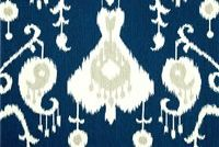Magnolia Home Fashions JAVA NAVY Ikat Print Upholstery And Drapery Fabric