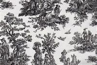 6155414 VIRGINIA BLACK Toile Print Upholstery And Drapery Fabric