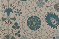 Lacefield Designs CALYPSO SEAFOAM Floral Print Upholstery And Drapery Fabric