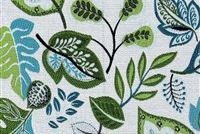 Performatex O'LEAFYFRESH TURQ KIWI WHITE Floral Indoor Outdoor Upholstery Fabric