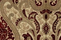 6433618 YORK CRIMSON Floral Jacquard Upholstery And Drapery Fabric