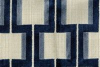 6446012 POWERS INDIGO Lattice Velvet Upholstery Fabric