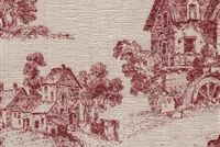 6448211 ORLEANS 15 55IN RED Toile Jacquard Upholstery Fabric