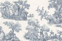 6448411 SABOYA 66 55IN BLUE Toile Print Upholstery And Drapery Fabric