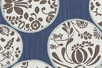 6712412 BARTON REGAL BLUE Floral Print Upholstery And Drapery Fabric