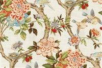 Waverly MUDAN C PERSIMMON 680141 Floral Print Upholstery And Drapery Fabric