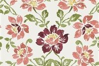 6752012 MASTERPIECE A RED Floral Linen Blend Upholstery And Drapery Fabric