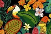 Swavelle Mill Creek BEAK IN THE WAY/FRESCO NOIR Tropical Indoor Outdoor Upholstery Fabric