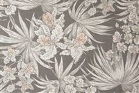 Magnolia Home Fashions PARADISE GREY Floral Print Upholstery And Drapery Fabric
