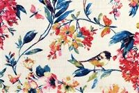 Covington LARISSA 541 BLUEBERRY Floral Linen Blend Fabric