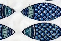 Performatex O'LIL CUTE FISH INDIGO BLUE Tropical Indoor Outdoor Upholstery Fabric