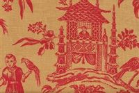 Williamsburg ASIAN ARCADIA CINNABAR 750372 Toile Linen Fabric