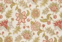 Fabricut Charlotte Moss PRATO CORAL Floral Linen Blend Upholstery And Drapery Fabric