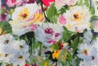 Braemore PAINTERS GARDEN 001 RUBY Floral Print Fabric