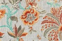 Williamsburg BRAGANZA PERSIMMON 750542 Floral Linen Blend Fabric
