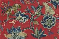 Williamsburg BRAGANZA POPPY 750680 Floral Linen Blend Upholstery And Drapery Fabric
