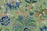 Williamsburg BRAGANZA ENDIVE 750682 Floral Linen Blend Upholstery And Drapery Fabric