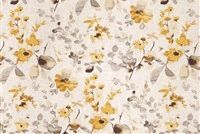 Trend 03367-VY YELLOW GREY Floral Linen Blend Upholstery And Drapery Fabric