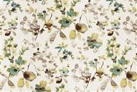 Trend 03367-VY AQUA CLOUD Floral Linen Blend Fabric